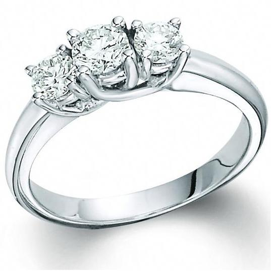 14 Karat White Gold 3 Stone Diamond Ring 1 00 Ct Charisma Jewelers