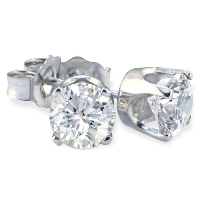 14 Karat White Gold Diamond Stud Earrings 50 Ct