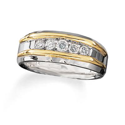 14 Karat Two Tone Gold Diamond Channel Set Band Charisma Jewelers