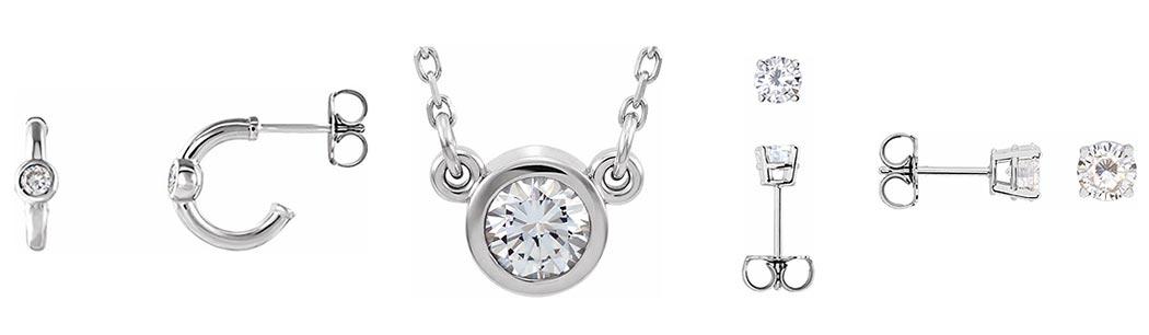 buy moissanite jewelry, moissanite earrings, moissanite pendands (subject to availlibility)